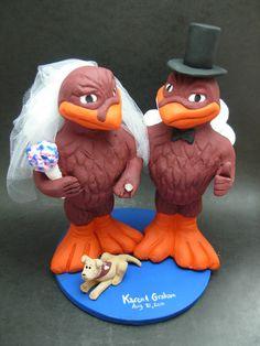 Custom made to order Hokie bird college mascot wedding cake toppers. $235 www.magicmud.com 1 800 231 9814 magicmud@magicmud... blog.magicmud.com twitter.com/... $235 #mascot #collegemascot #hokie #ms.wuf #gators #virginiatech #football mascot #wedding #toppers #custom #Groom #bride #weddingcaketoppers #caketoppers www.facebook.com/... www.tumblr.com/... instagram.com/... magicmud.com/Wedding photos.htm