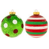 Red & Green Dot & Stripe Ball Ornaments