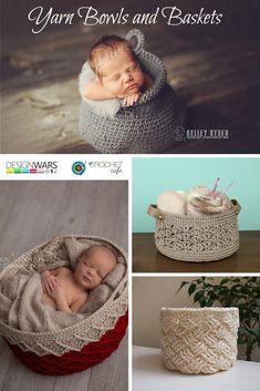 Crochet Patterns for Yarn Bowls and Yarn Baskets