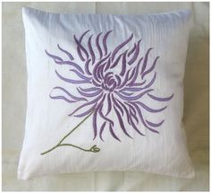 white chrysanthemum  throw pillow cover  with lilac by anitanirma, $26.50