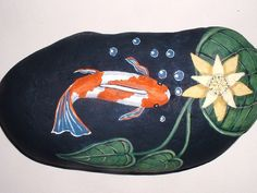 KOI FISH POND Hand Painted rock for Home Patio by reallyrocks