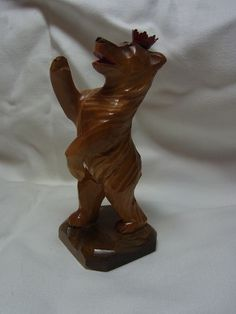 Vintage German Carved Wood Berlin Bear Souvenir#D