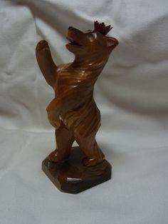 Vintage German Carved Wood Berlin Bear Souvenir#D