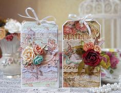 Vintage and shabby chic tags with hand-made flowers