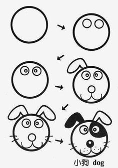 33 ideas for dogs face drawing cartoon Art Drawings For Kids, Doodle Drawings, Drawing For Kids, Cartoon Drawings, Easy Drawings, Animal Drawings, Doodle Art, Art For Kids, Cartoon Dog