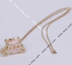 75cm Golden Pumpkin Car Necklace Sweater Chains Jewelry Vintage Charms