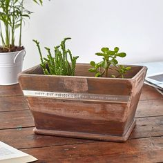Hand-stamped with your words to mum | Personalised Wood Pot Planter | GettingPersonal.co.uk