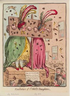 """Exaltation of Faro's Daughters""', James Gillray  Lady Archer and Mrs. Hobart."