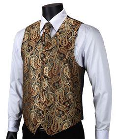 Gold Brown Paisley Top Design Wedding Men Silk Waistcoat Vest Pocket Square Cufflinks Cravat Set for Suit Tuxedo