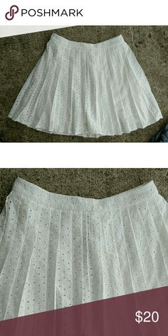 """NWT Abercrombie eyelet skirt. Small NWT pleated eyelet skirt. Fully lined. Zipper in back. Length 16"""" Waist 26"""" Abercrombie & Fitch Skirts Mini"""