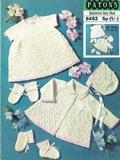 Items similar to vintage baby knitting pattern for layette set booties dress bonnet matinee jacket and mittens bobble pattern on Etsy Baby Girl Patterns, Baby Knitting Patterns, Crochet Patterns, Baby Girls, Knitting Baby Girl, Knitted Baby, Knit Crochet, Baby Cardigan, Cardigan Pattern