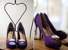 Tall, but beautifully dark purple wedding shoes.