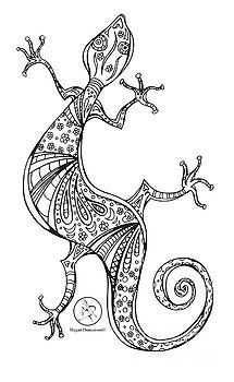 Coloring Page With Beautiful Lizard Drawing By Megan Duncanson by Megan Duncanson
