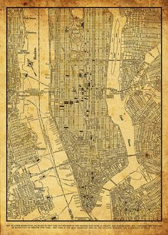 New York City Map New York City Manhattan Street Map Vintage Sepia Grunge Print Poster