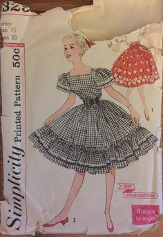 """VTG 3295 Simplicity (1959) junior blouse and skirt.  Size 15, Bust 35"""".  Complete, unused, neatly cut. Pattern is in excellent condition! by ThePatternParlor on Etsy"""