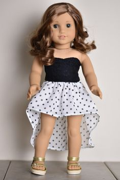 High Low Skirt American girl doll by EliteDollWorld on Etsy High Lo. - High Low Skirt American girl doll by EliteDollWorld on Etsy High Low Skirt American gi - American Girl Outfits, Ropa American Girl, American Girl Hairstyles, American Girl Doll Pictures, My American Girl Doll, American Girl Crafts, American Doll Clothes, Girl Doll Clothes, Doll Clothes Patterns