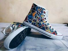Painted Sneakers, Painted Shoes, Kitenge, African Inspired Fashion, African Fashion, Converse Sneakers, High Top Sneakers, Ankara, Afro