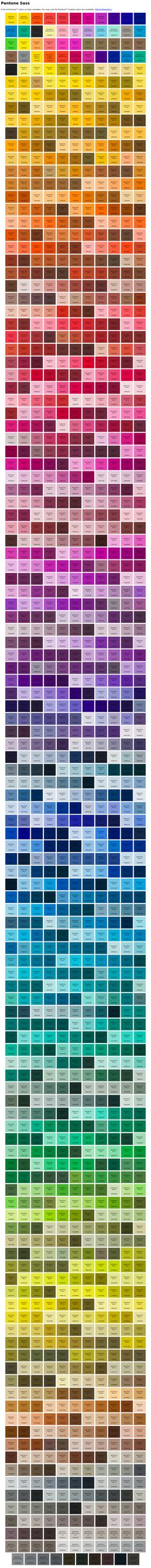 Sass pantone colours? http://damonbauer.github.io/Pantone-Sass/