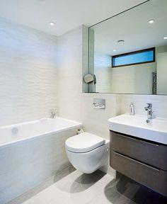 contemporary bathroom with bath and dark wood vanity unit Bathroom Styling, Bathroom Lighting, Modern Bungalow Exterior, Small Bathroom, Bathrooms, Bungalow Extensions, Big Design, Wood Vanity, Vanity Units