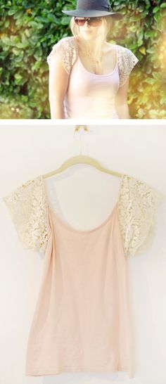 DIY Lace-Sleeved Tank-top