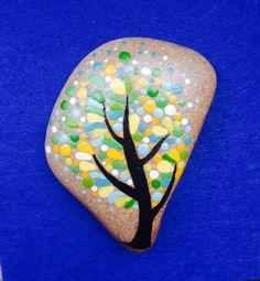 Painted Stone Tree /Gift / Decoration / by CreateAndCherish