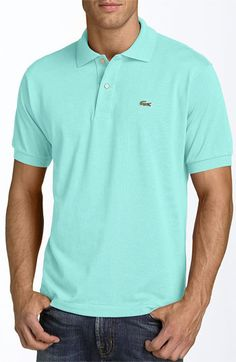 On sale! Classic Lacoste polo in spring colors.