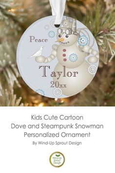 Kids Cute Cartoon Dove and Steampunk Snowman Ornament | Snowman Ornaments for Christmas Tree | Made of Ultra-Durable Acrylic | Light Blue Custom Christmas Decorations | By Wind-Up Sprout Design @Zazzle #kids #name #snowman #christmas #ornaments #blue #christmasdecor Magical Christmas, Christmas Fun, Christmas Decorations, Snowman Ornaments, Cute Cartoon, Steampunk, Kids, Toddlers, Boys