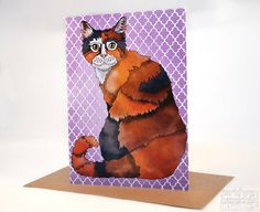 Kitty Cat Greeting Card Blank Card Birthday Card Thank You Card Easter Card Cat Lady Card Mothers Day Card Good Luck Card by ceridwenDESIGN http://ift.tt/2aO7CzG