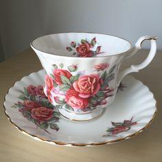 "Royal Albert ""Centennial Rose"" Vintage Teacup and Saucer, Reddish Pink Orange Rose Tea Cup and Saucer, English China by CupandOwl on Etsy"