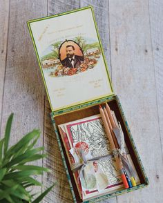 Sharon Lee Louk's coloring set is an upcycled cigar box, some colored pencils, and stamped cards that are waiting to be filled in with color. Reuse, Upcycle, Recycled Art, Repurposed, Green Craft, Something Old, Colored Pencils, Creative Art, Coloring Set
