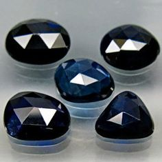 Deep Midnight Blue Natural Sapphires  Rose Cut by SilverFoundAgain, $29.50