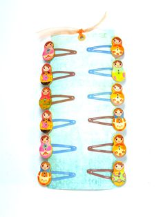 6 Russian doll hair snap clips for girls. Hair clips for girls. Hand sewn…