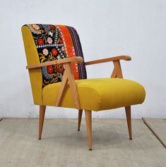 Wooden Armchair yellow love by namedesignstudio on etsy Yellow Armchair, Comfy Armchair, Patterned Armchair, Armless Chair, Chair Cushions, Recliner, Small Accent Chairs, Accent Chairs For Living Room, Living Rooms