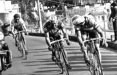 "Cor Vos Dutch Vintage: Kelly motoring up on the Poggio Greg LeMond looks back to a charging Sean Kelly as the Irishman makes contact with the two leaders on the Poggio. Mario Beccia earlier counter-attacked the catch of the day's breakaway on the final climb to spring LeMond and himself free. The Italian went on to finish third, his best-ever result in ""La Primavera."""