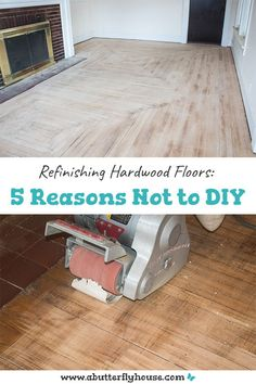 Refinishing Hardwood Floors: 5 Reasons Not to DIY Come read about all the difficulties I had refinishing my hardwood floors, and why I don't recommend most people DIY this project. Staining Hardwood Floors, Unfinished Hardwood Flooring, Diy Wood Floors, Vinyl Plank Flooring, Diy Flooring, Flooring Options, Flooring Ideas, Diy House Projects, Furniture Projects