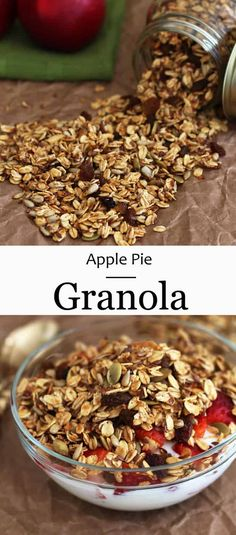 very healthy Apple Pie Granola Delicious Breakfast Recipes, Good Healthy Recipes, Brunch Recipes, Snack Recipes, Cooking Recipes, Yummy Food, Dessert Recipes, Healthy Bars, Healthy Snacks