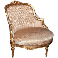 Antique Vintage Decor French Louis XVI Style Corner Chair - A French Louis XVI style giltwood corner chair. Upholstered in beige silk, this piece features downswept arms, a tufted back, and a padded seat. Raised on tapering bulbous legs. Antique Chairs, Vintage Chairs, Vintage Decor, Classic Furniture, Vintage Furniture, Furniture Chairs, French Furniture, Furniture Stencil, Furniture Storage