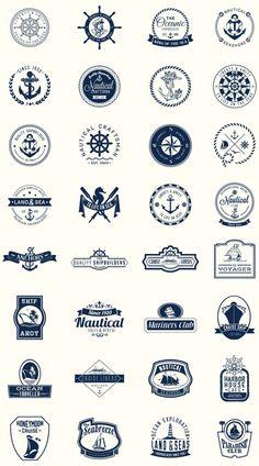 Pack of perfect nautical shields for logos Nautical Logo, Nautical Design, Typography Logo, Logo Branding, Branding Design, Logo Inspiration, Daily Inspiration, Rundes Logo, Logos Online