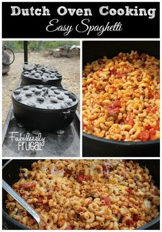 I am sharing another favorite camping recipe for those of you that will be camping during the of July. Introducing Dutch Oven Spaghetti also referred to as Goolash. This camping dinner recipe is really filling after a long day of hiking. Camping Bedarf, Dutch Oven Camping, Camping Cooking, Outdoor Camping, Camping Dishes, Camping Outdoors, Camping Foods, Backpacking Meals, Ultralight Backpacking