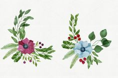 55 Watercolor Floral Elements by Helga Wigandt on Creative Market