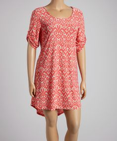 Take+a+look+at+the+Coral+&+Beige+Hi-Low+Dress+-+Plus+on+#zulily+today!