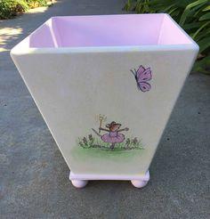 kids trash can hand painted waste basket boys waste basket airplane waste basket
