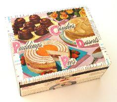 (http://www.papervsglue.com/vintage-desserts-recipe-cigar-box/) Delightful Confections and Desserts Vintage Collage Recipe Cigar Box
