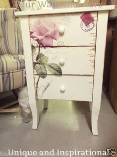 WHITE SHABBY CHIC VINTAGE PINK ROSES ROSE POSTCARD 3 DRAWER BEDSIDE CHESTS PAIR | eBay