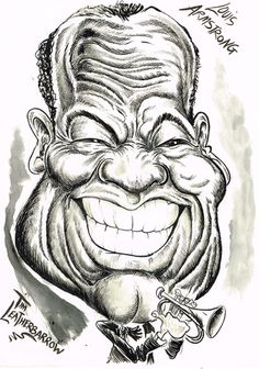 Cartoon: SATCHMO- LOUIS ARMSTRONG (medium) by Tim Leatherbarrow tagged trumpet,jazz,armstrong,louis,satchmo