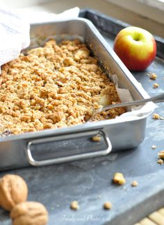Appelcrumble taart: klassieke, gezondere en Glutenvrije Pureed Food Recipes, Healthy Dessert Recipes, Baking Recipes, Desserts, Apple Crisp Recipes, Healthy Cake, Comfort Food, Foods With Gluten, Vegan Baking