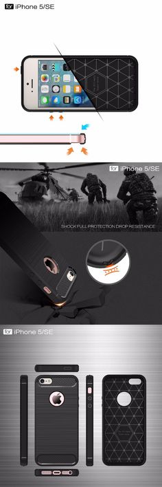 Luxury Shockproof for iPhone 5 5s SE Case New Carbon Fiber Soft TPU Drawing Phone Case Back Cover