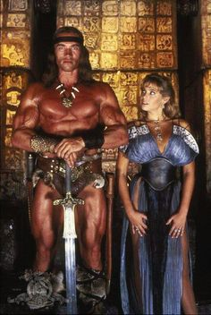 A gallery of Conan The Destroyer publicity stills and other photos. Featuring Arnold Schwarzenegger, Grace Jones, Wilt Chamberlain, Olivia d'Abo and others. Arnold Schwarzenegger, Conan Der Zerstörer, Film Sf, Olivia D'abo, Conan Der Barbar, Robert E Howard, King Robert, Conan The Destroyer, Fantasy Movies