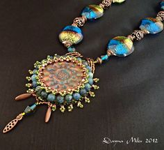 Bead Embroidered Statement Necklace with by DealanDeDesigns, $88.00