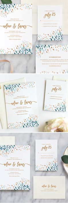 Love these beautiful watercolor wedding invitations by Fine Day Press